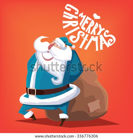 Greeting card Merry Christmas blue Santa Claus with gift bag - stock vector
