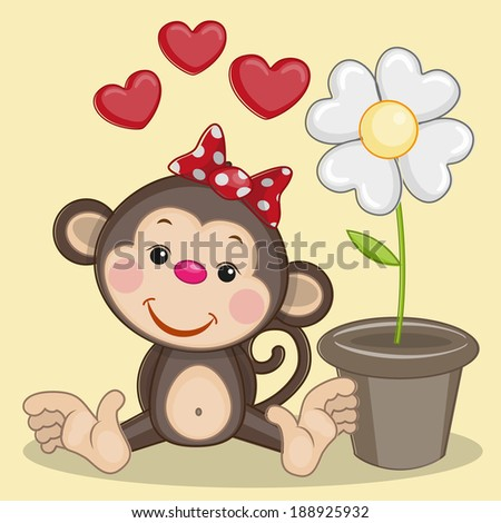 Greeting card Monkey and flower - stock vector
