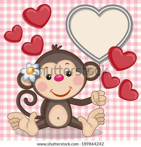 Greeting card Monkey and hearts - stock vector