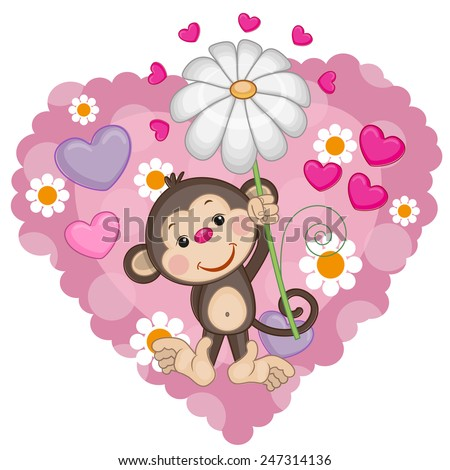 Greeting card Monkey with hearts and flower  - stock vector