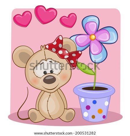 Greeting card Mouse with hearts and flower - stock vector
