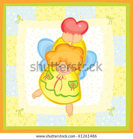 Greeting card of cute angel. - stock vector