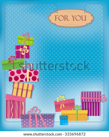 Greeting card on a blue background with polka dots.  Gifts and purchases. - stock vector