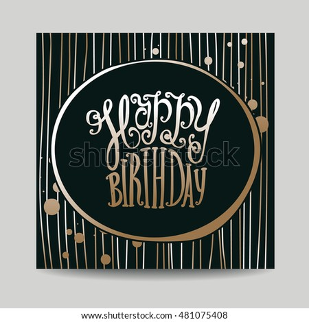 Greeting card on his birthday hand stock vector 481075408 greeting card on his birthday hand drawing of inscriptions happy birthday black bookmarktalkfo Choice Image
