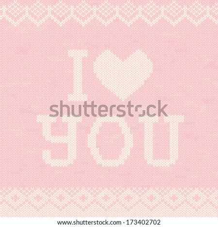 Greeting card on sweater texture - stock vector