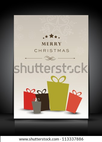 Greeting card or gift card for Merry Christmas celebration. EPS 10. - stock vector