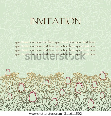 greeting card or invitation. rose and leaves lace ornament. wedding invitation card. vector border and place for your text. floral abstract decor.  vector illustration. red white and green colors - stock vector