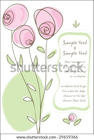 Greeting Card or Invitation - use for showers, weddings, parties - stock vector