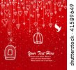Greeting Card or Invitation with Hearts and Birds - stock photo