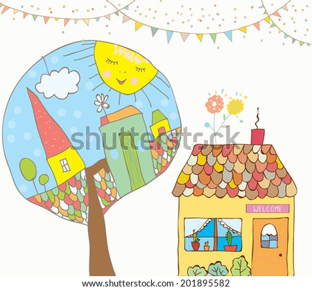 Greeting card or invitation with house, trees, bunting flags for kids - funny background - stock vector