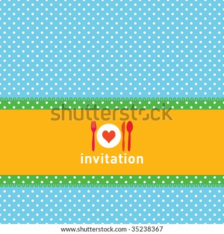 Greeting card or menu design with polkadots, fork, knife and spoon - stock vector