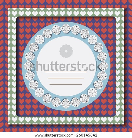 Greeting card painted in pastel colors with white flowers on cyan backdrop surrounded by red hearts. Digital background vector illustration. - stock vector