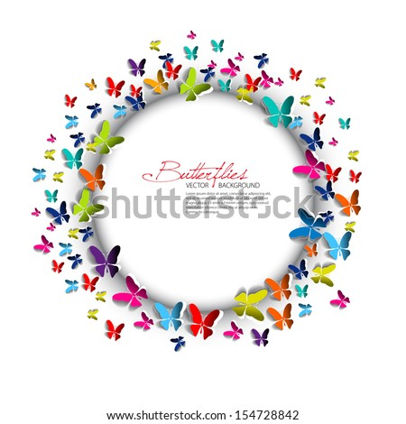 Greeting card - Paper Butterflies and circle - place for text -  - stock vector