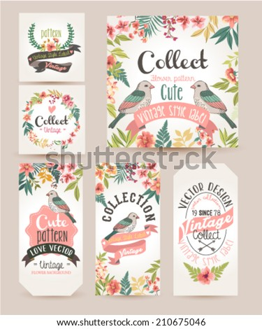 greeting card,romantic labels with flower - stock vector