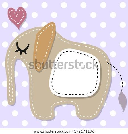 Greeting card sleeping elephant with heart - stock vector