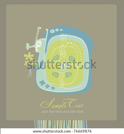 Greeting Card snail - stock vector