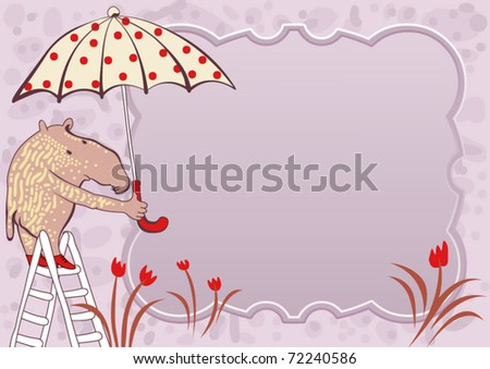 greeting card - tapir with umbrella