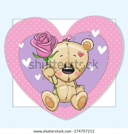 Greeting card Teddy Bear and a rose  - stock vector