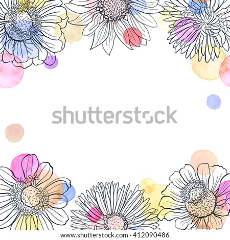 Greeting card template. Square frame from flowers outlines and watercolor dots on white background. Hand drawn floral frame with copyspace. - stock vector