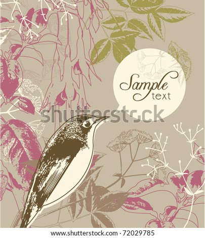 greeting card template with bird & floral background - stock vector