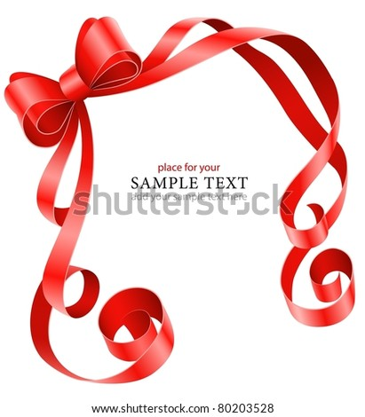 greeting card template with red ribbon and bow vector illustration isolated on white background - stock vector