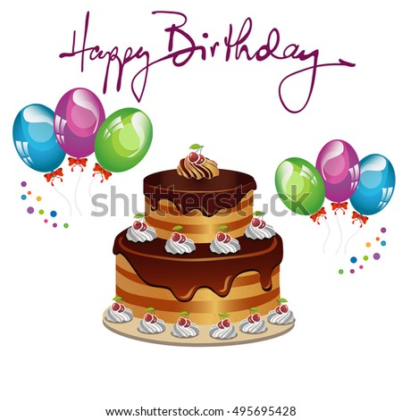Greeting Card Birthday Cake Balloons Stock Vector 495695428