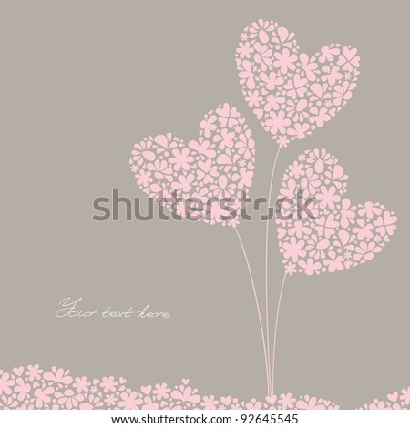 greeting card, Valentine's Day, International Women's Day, a bouquet of flowers in the form of hearts in the background