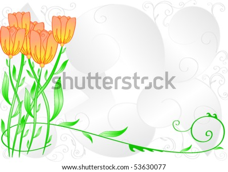 Greeting card, vector curls and flowers. Can be used as a background - stock vector