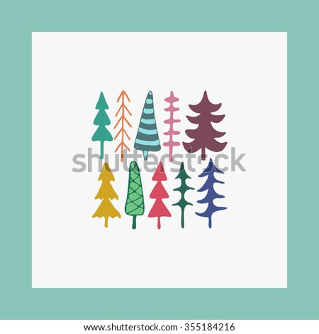 Greeting card vector illustration fir christmas trees. Happy New Year card. Winter holidays. Child drawing style trees. - stock vector