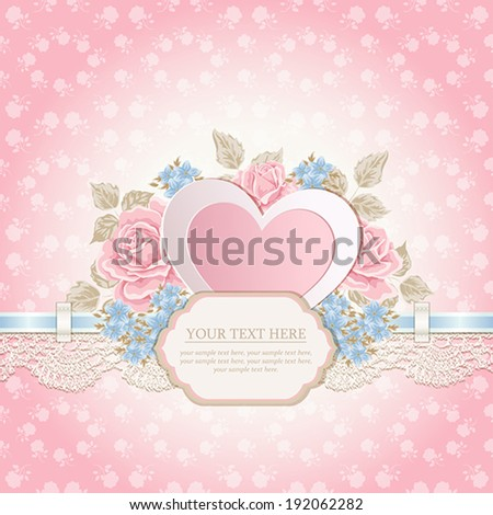 Greeting card. Vintage background with lace. - stock vector
