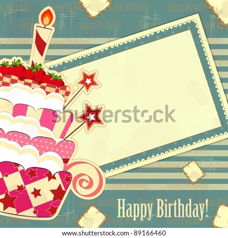 greeting card with a big strawberry cake in a vintage style - stock vector