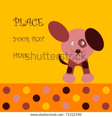 Greeting card with a dog - stock vector