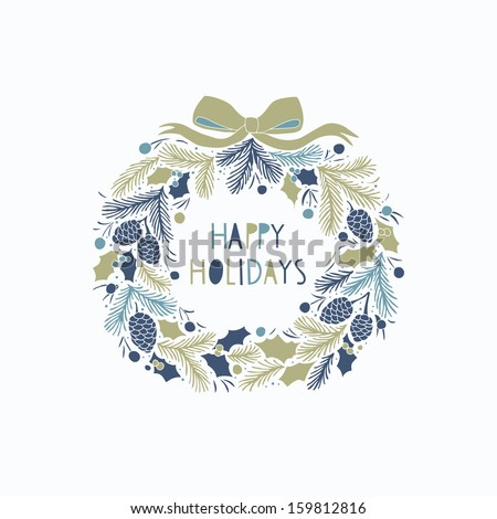 Greeting card with a festive wreath - stock vector