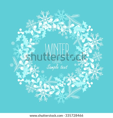 Greeting card with a festive wreath. Design Elements. Vector illustration - stock vector
