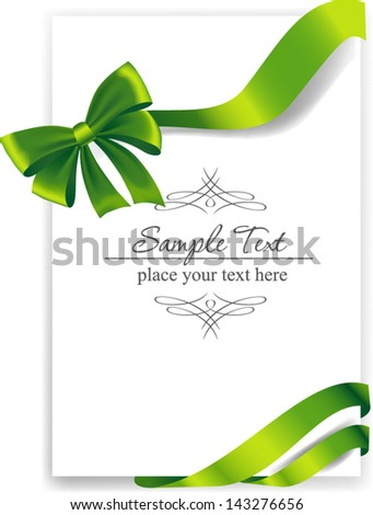 Greeting card with a green ribbon. Vector image - stock vector