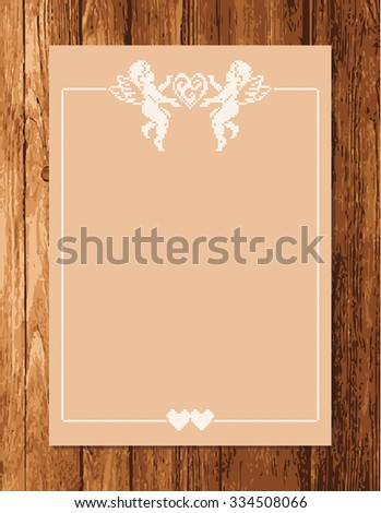 Greeting card with a hearts and space for text on a wooden background. Cupid angels. Valentines day. Vector frame.  - stock vector
