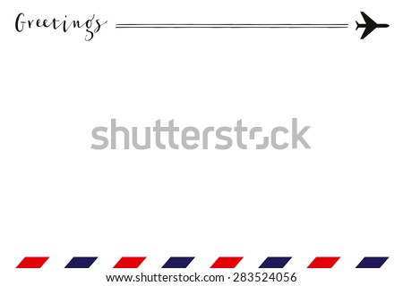 Greeting card with a small airplane on the right top and air mail pattern on the bottom. Vector and illustration design. - stock vector