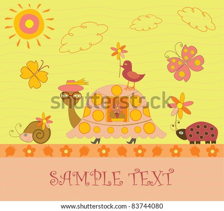 greeting card with a turtle - stock vector