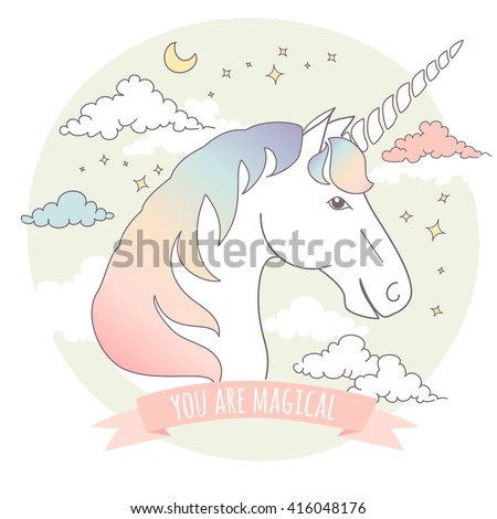 Greeting card with a unicorn, stars and clouds. You are magical! - stock vector