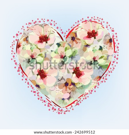 Greeting card with abstract heart with flowers in pastel colors on light blue background - stock vector