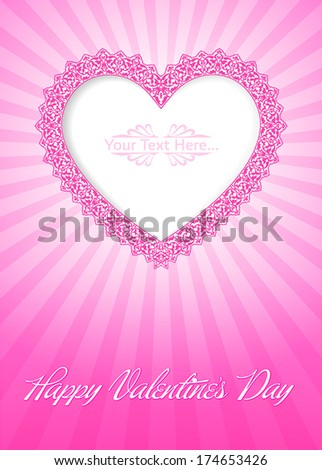 Greeting card with beautiful lacy heart  - stock vector