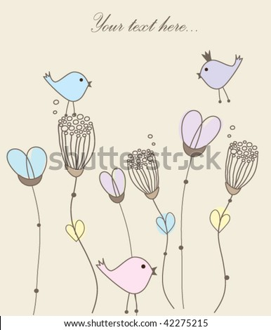 Greeting card with birds on flowers. Vector. - stock vector