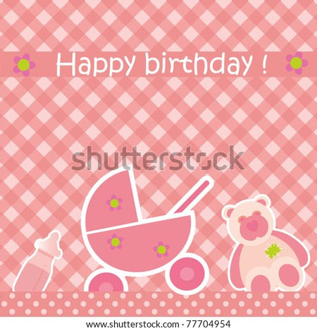 Greeting Card Birthday Pink Color Girl Stock Vector Hd Royalty Free