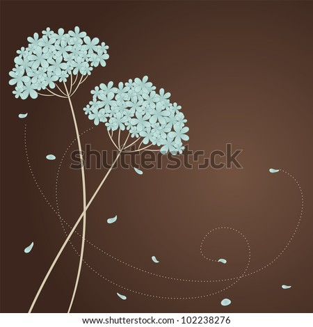 Greeting card with blue flowers and place for text - stock vector