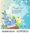 Greeting card with box full of blue flowers - stock vector