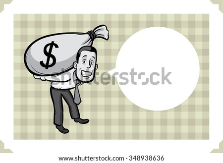 Greeting card with businessman with money - just add your text - stock vector