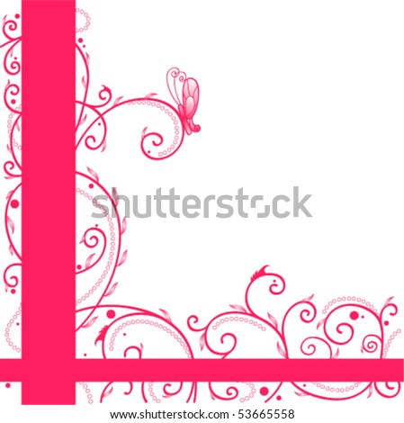 Greeting card with butterfly, curls and leaves. Can be used as a background - stock vector