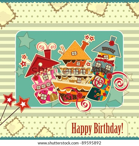 Greeting card with candy houses - stock vector