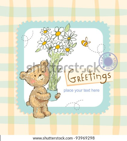 Greeting card with chamomile & teddy bear - stock vector
