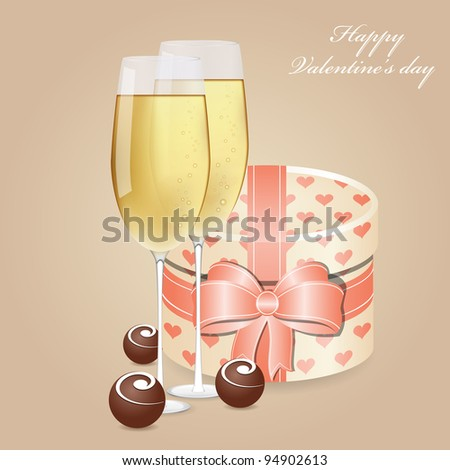 Greeting card with champagne and chocolate - stock vector